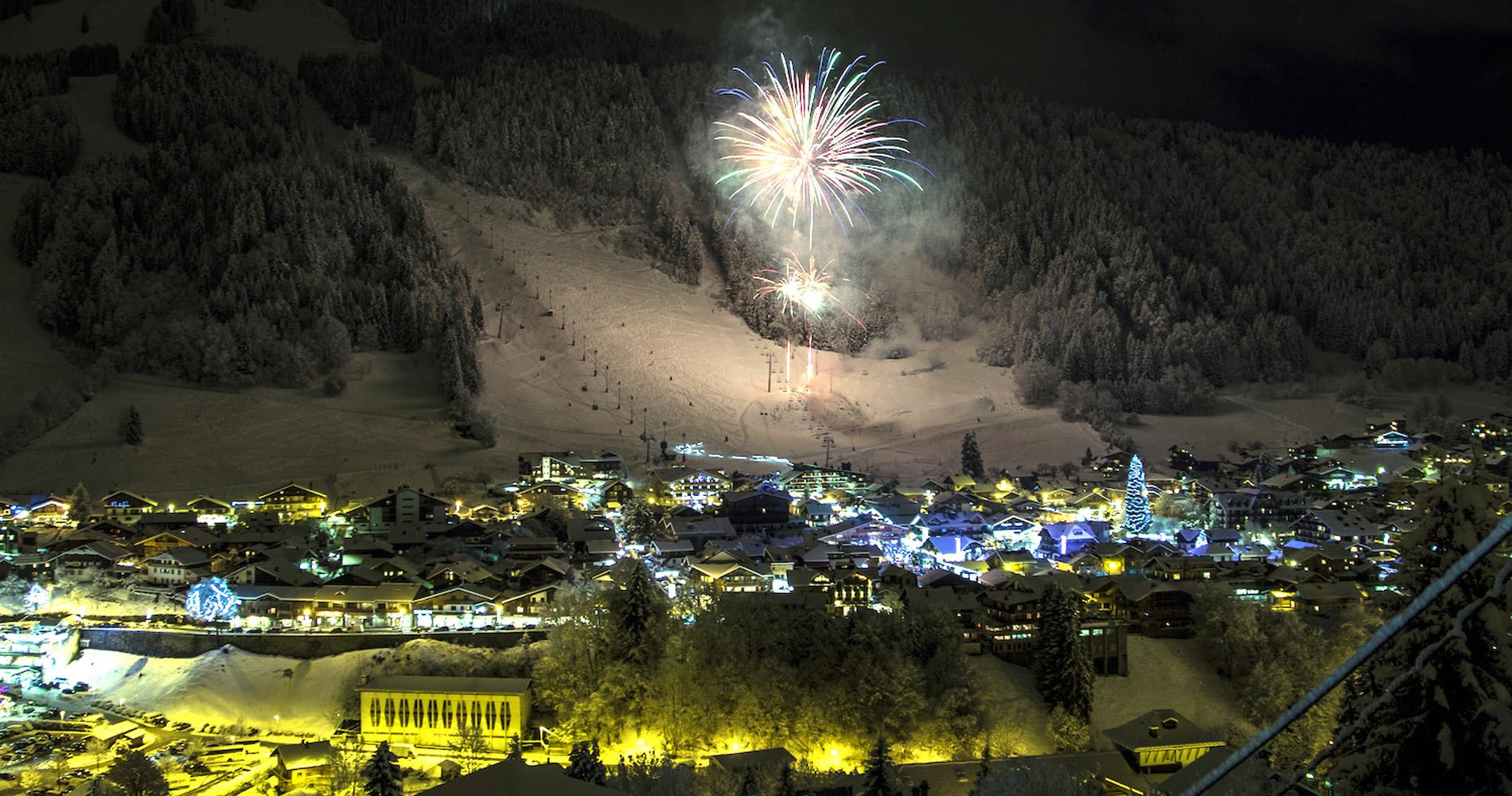 Morzine town winter fireworks